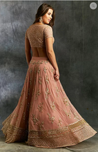 Load image into Gallery viewer, Astha Narang Peach Sequins Jaal Border Lehenga - The Grand Trunk