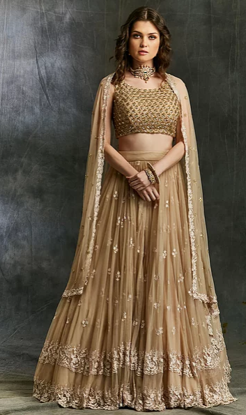 Astha Narang Beige Threadwork Lehenga - The Grand Trunk