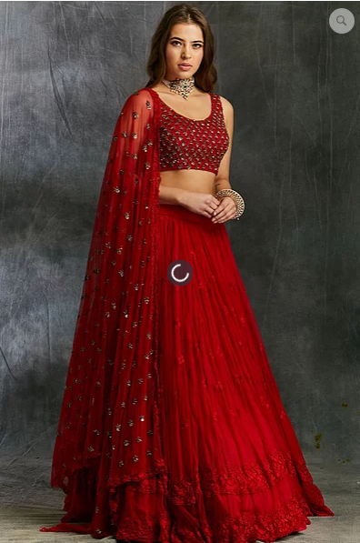 Astha Narang Red Threadwork Lehenga - The Grand Trunk