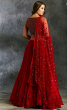 Load image into Gallery viewer, Astha Narang Red Threadwork Lehenga - The Grand Trunk