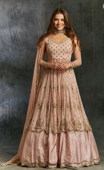 Astha Narang Pink Sequin Georgette with Pink Silk Skirt - The Grand Trunk