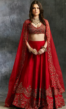 Load image into Gallery viewer, Astha Narang Red Raw Silk Lehenga - The Grand Trunk