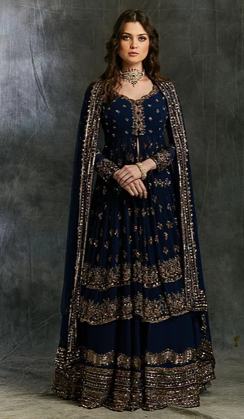 Astha Narang Dark Blue Gold Jacket with Skirt - The Grand Trunk