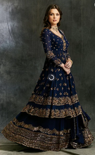 Load image into Gallery viewer, Astha Narang Dark Blue Gold Jacket with Skirt - The Grand Trunk