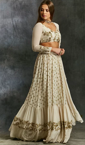 Astha Narang White and Gold Georgette Sharara Set - The Grand Trunk
