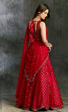 Load image into Gallery viewer, Astha Narang Dark Pink Raw Silk Booti Lehenga - The Grand Trunk