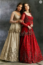 Load image into Gallery viewer, astha Narang Gold Sequins Raw Silk Lehenga - The Grand Trunk