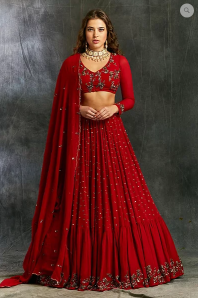 Astha Narang Red and Gold Georgette Booti Lehenga - The Grand Trunk