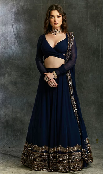 Astha Narang Dark Blue Georgette Lehenga - The Grand Trunk