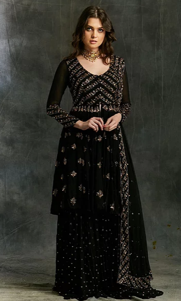 Astha Narang Black and Gold Georgette Sharara - The Grand Trunk