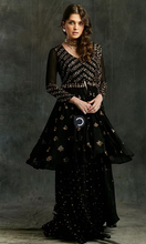 Load image into Gallery viewer, Astha Narang Black and Gold Georgette Sharara - The Grand Trunk