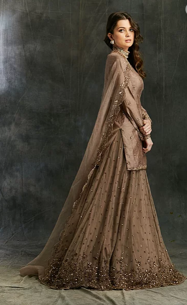 Astha Narang Grey Brown Raw Silk Kurta - The Grand Trunk