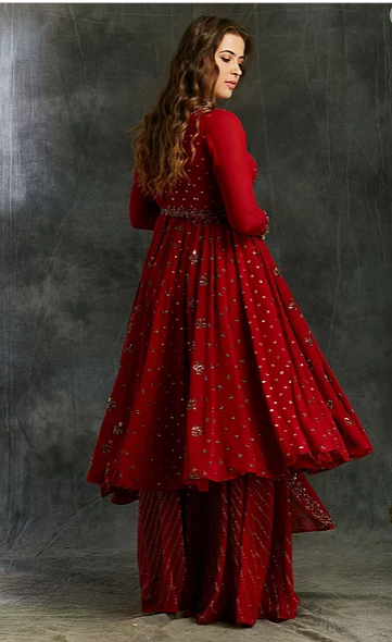 Astha Narang Red Georgette Anarkali with Sharara - The Grand Trunk