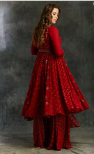Load image into Gallery viewer, Astha Narang Red Georgette Anarkali with Sharara - The Grand Trunk