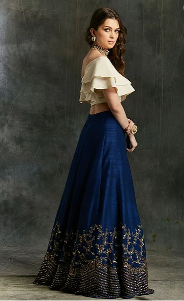 Astha Narang Blue Border Lehenga - The Grand Trunk