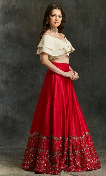 Astha Narang Red Border Lehenga With Off-shoulder Crop Top - The Grand Trunk