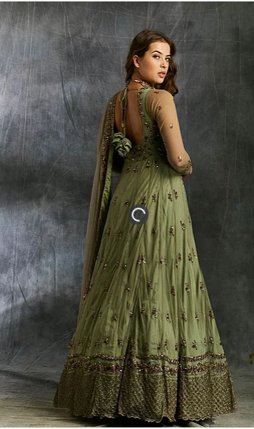 Astha Narang Olive Green Anarkali with Dupatta and Belt - The Grand Trunk