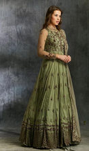 Load image into Gallery viewer, Astha Narang Olive Green Anarkali with Dupatta and Belt - The Grand Trunk