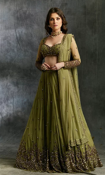 Astha Narang Olive Green Lehenga with Dupatta and Belt - The Grand Trunk