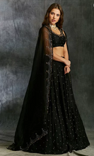 Load image into Gallery viewer, Astha Narang Black Silk Lehenga with Antique Work - The Grand Trunk