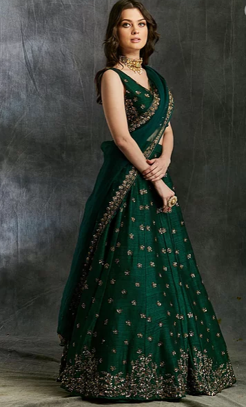 Astha Narang Green Emerald Lehenga - The Grand Trunk