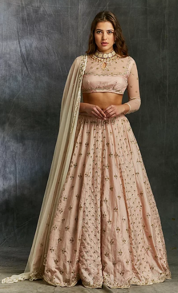 Astha Narang Pink Silk Booti Lehenga - The Grand Trunk