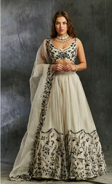 Astha Narang White Organza with Green and Black Threadwork Lehenga - The Grand Trunk