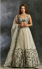 Load image into Gallery viewer, Astha Narang White Organza with Green and Black Threadwork Lehenga - The Grand Trunk