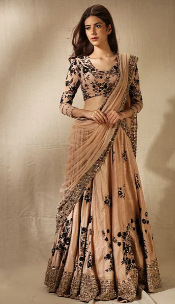 Astha Narang Peach and Black Floral Lehenga - The Grand Trunk
