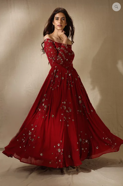 Astha Narang Red Floral Work Off Shoulder Anarkali Gown - The Grand Trunk