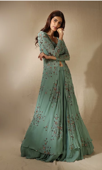 Astha Narang Dull Olive Floral Threadwork and Sequins Jacket with Flared Skirt - The Grand Trunk