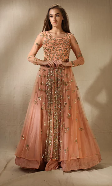 Astha Narang Coral and Gold Shimmer Sequins Jacket Kurta with Flared Skirt - The Grand Trunk