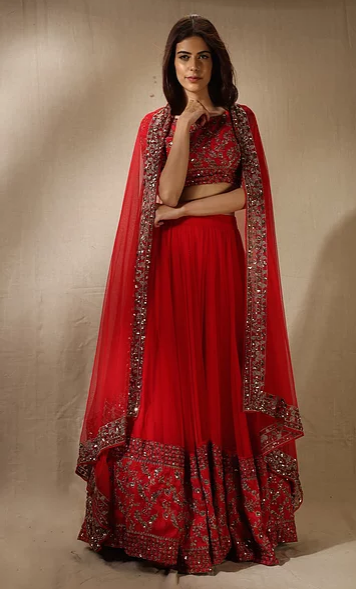 Astha Narang Red and Gold Embroidered Lehenga - The Grand Trunk