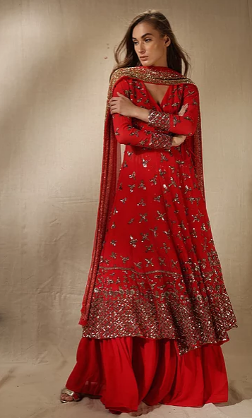 Astha Narang Red Angarkha Anarkali with Flared Pants - The Grand Trunk