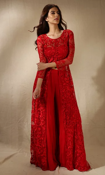 Astha Narang Red Thread Work Front Open Jacket Kurta with Flared Pants - The Grand Trunk