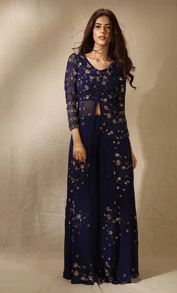 Astha Narang Navy Front Open Embroidered Jacket and Lehenga - The Grand Trunk