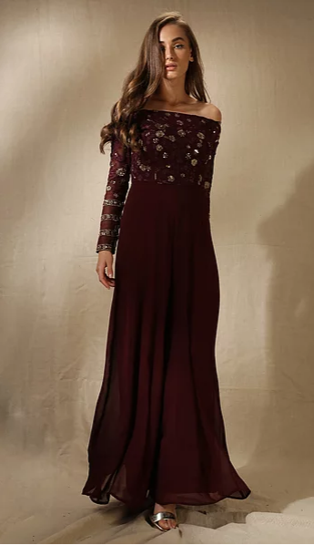 Astha Narang Dark Wine Floral Embroidered Jumpsuit - The Grand Trunk