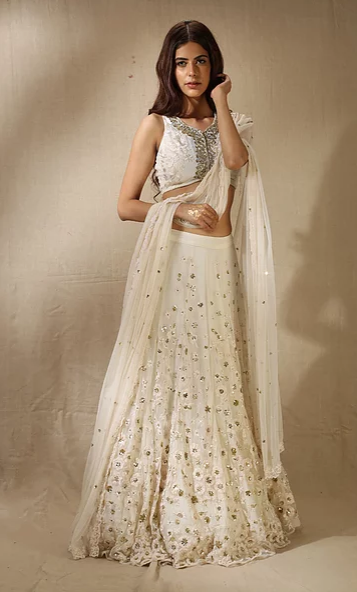 Astha Narang White Sequins Floral Work Lehenga - The Grand Trunk
