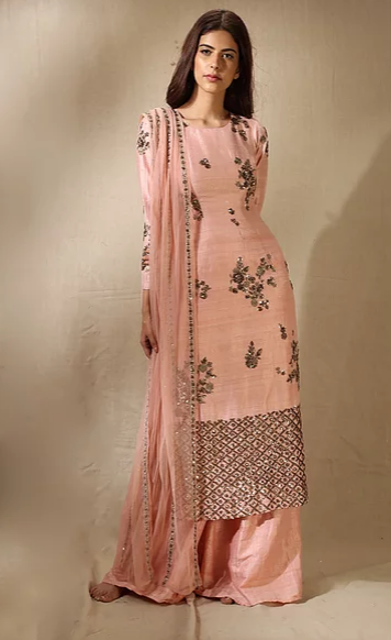 Astha Narang Blush Pink and Antique Gold Floral Handwork Kurta with Flared Pants - The Grand Trunk