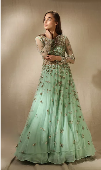 Astha Narang Mint Front Open Sequins Jacket with Flared Skirt - The Grand Trunk