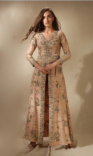 Astha Narang Rose Gold Kurta Jacket with Pants - The Grand Trunk