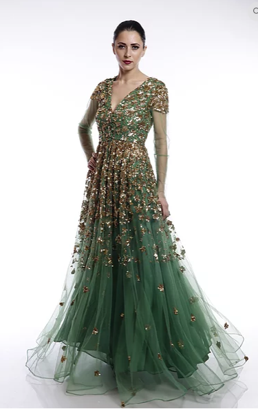 Astha Narang Leaf green sequin jacket with skirt - The Grand Trunk
