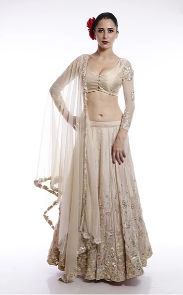 Astha Narang Off white and gold floral thread work and sequins embroidered Lehenga - The Grand Trunk