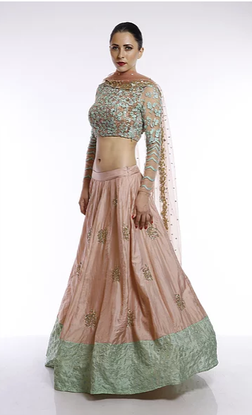 Astha Narang Peach moti work and sequins embroidered lehenga - The Grand Trunk