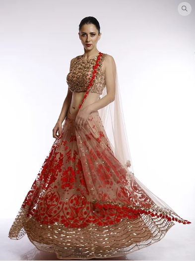 Astha Narang Peach and red floral thread and squins embroidered lehenga - The Grand Trunk