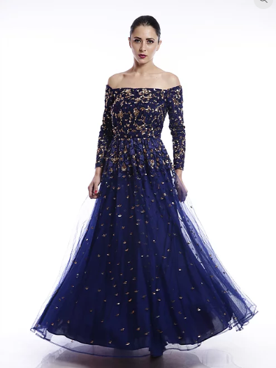Astha Narang Blue off shoulder sequins embroidered Gown - The Grand Trunk