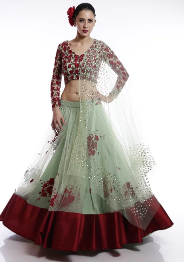 Astha Narang Mint green and red floral thread and sequins embroidered Lehenga - The Grand Trunk