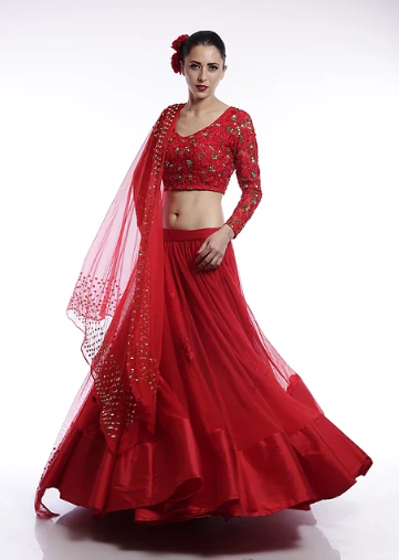 Astha Narang Red embroidered Lehenga - The Grand Trunk