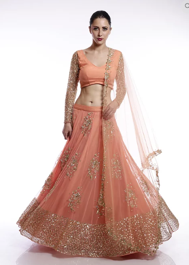 Astha Narang Coral and gold floral sequins embroidered lehenga - The Grand Trunk