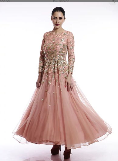 Astha Narang Peach and gold shimmer sequins embroidered flared gown - The Grand Trunk